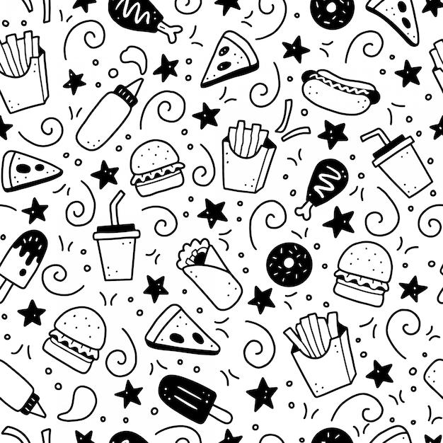 Hand gezeichnetes nahtloses muster des fast-food-gekritzels. illustration. Premium Vektoren