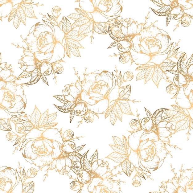 Hand gezeichnetes nahtloses muster mit goldenen florenelementen Premium Vektoren
