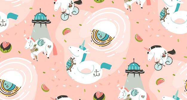 Hand gezeichnetes nahtloses muster mit kosmonauten-einhörnern mit tätowierung der alten schule, raumschiff, kometen und planeten im kosmos lokalisiert auf rosa hintergrund Premium Vektoren