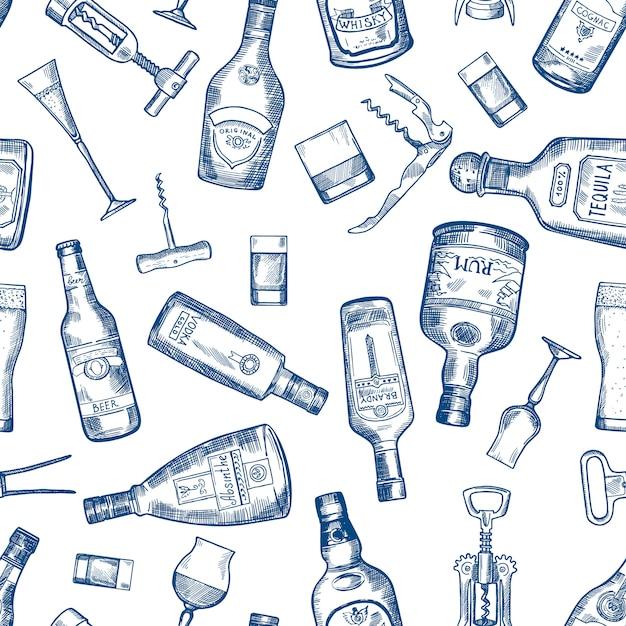 Hand gezeichnetes nahtloses muster mit verschiedenen alkoholflaschen. vector kognak- und whisky-, wermut- und wodka-, tequila- und rumillustration Premium Vektoren