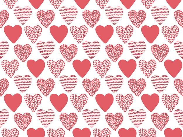 Hand gezeichnetes nahtloses muster valentine hearts. Premium Vektoren