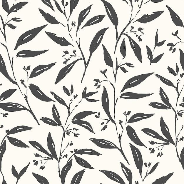 Hand gezeichnetes nahtloses schwarzweiss-muster der anlage Premium Vektoren