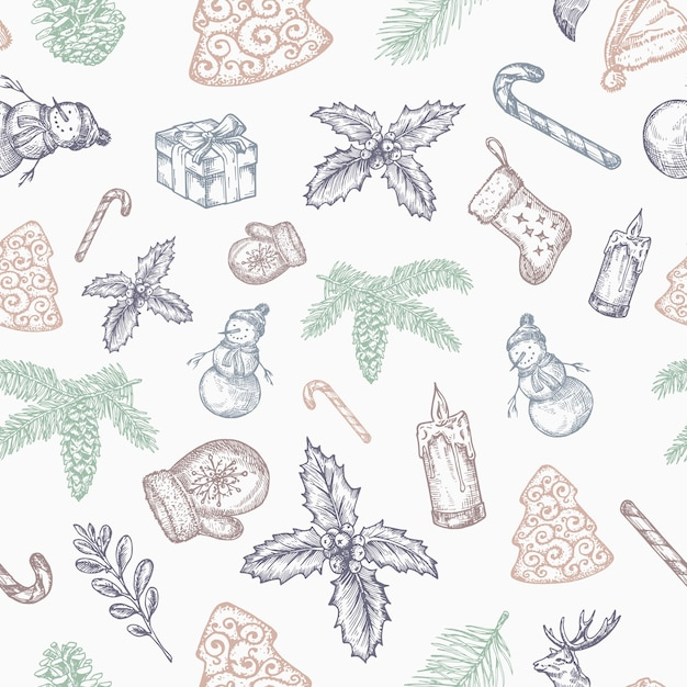 Hand gezeichnetes nahtloses weihnachts-hintergrundmuster. Kostenlosen Vektoren