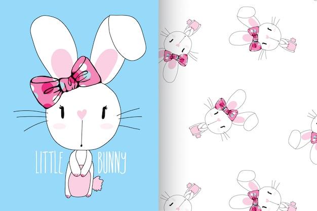 Hand gezeichnetes nettes kaninchen mit mustervektorsatz Premium Vektoren