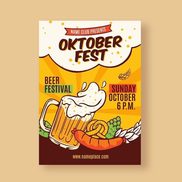 Hand gezeichnetes oktoberfestplakat Premium Vektoren