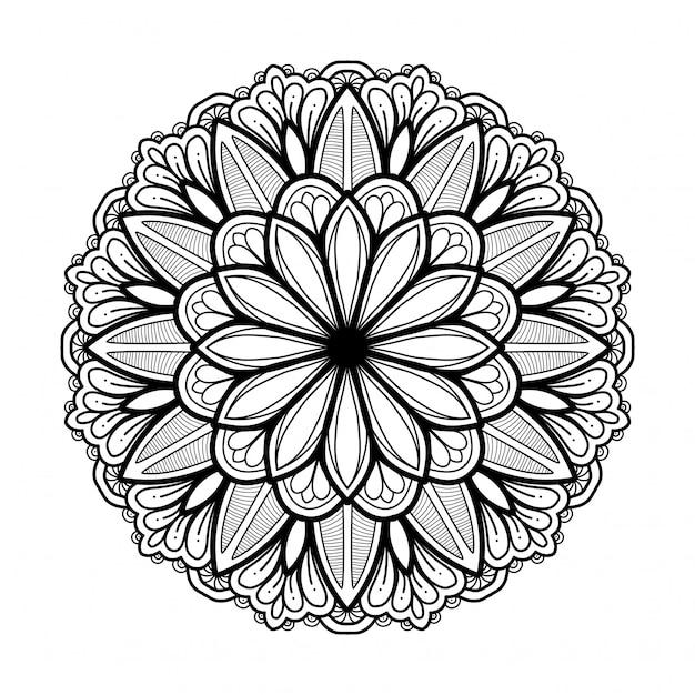 Hand gezeichnetes orientalisches mandala Premium Vektoren