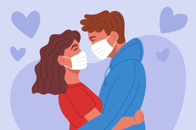 Hand gezeichnetes paar, das mit covid-maskenillustration küsst Kostenlosen Vektoren