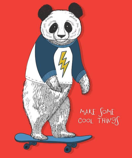 Hand gezeichnetes pandavektordesign für t-shirt drucken Premium Vektoren