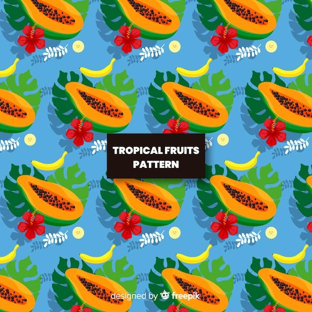 Hand gezeichnetes papayamuster Kostenlosen Vektoren