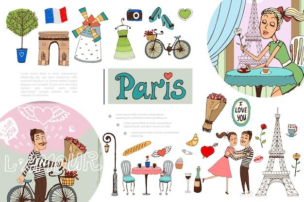 Hand gezeichnetes paris-elementkonzept Kostenlosen Vektoren