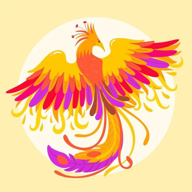Hand gezeichnetes phoenix-konzept Premium Vektoren