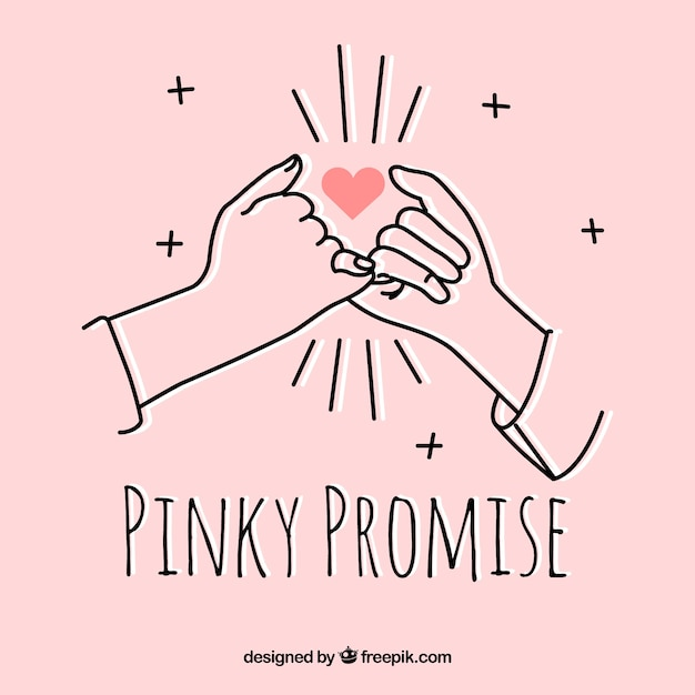 Hand gezeichnetes pinky-versprechenkonzept Kostenlosen Vektoren
