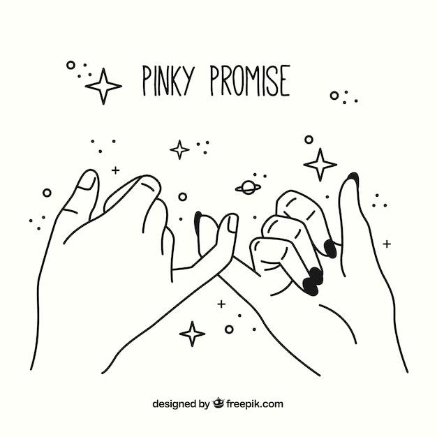 Hand gezeichnetes pinky-versprechenkonzept Premium Vektoren