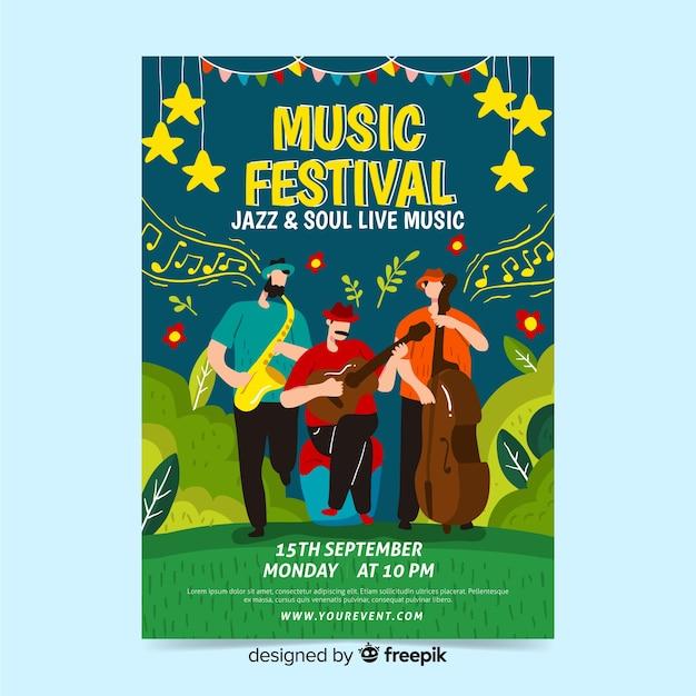 Hand gezeichnetes plakat für jazz- und soulfestival Kostenlosen Vektoren
