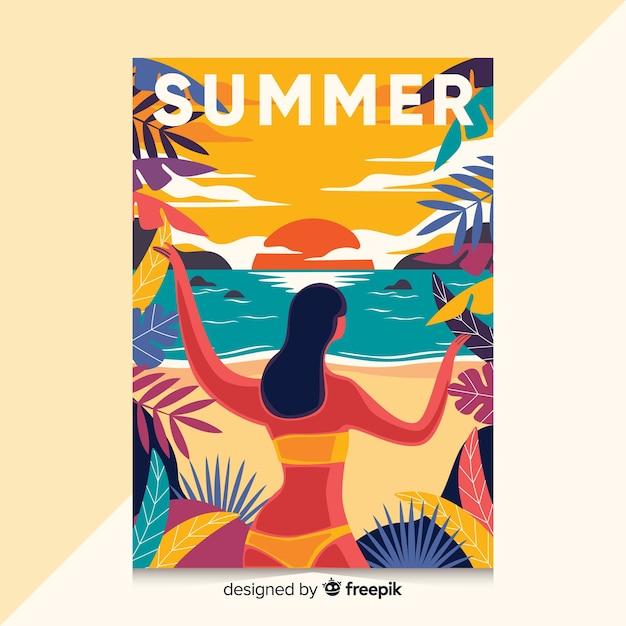 Hand gezeichnetes plakat mit sommerillustration Kostenlosen Vektoren