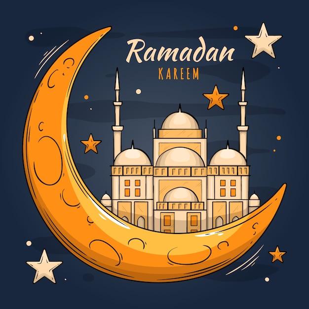 Hand gezeichnetes ramadan-konzept Kostenlosen Vektoren