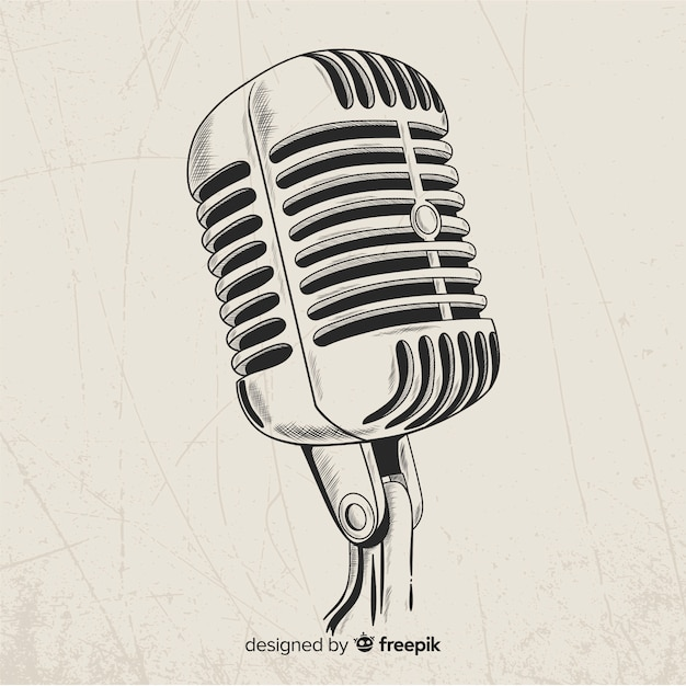 Hand gezeichnetes realistisches retro- mikrofon Kostenlosen Vektoren