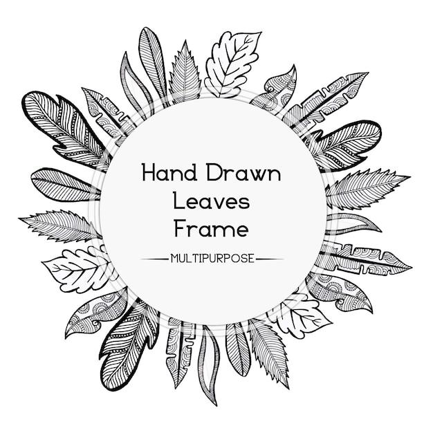Hand gezeichnetes Schwarzweiss-abgerundetes Blumenrahmen-Entwurf ...