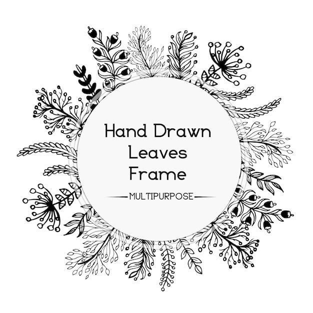 Hand gezeichnetes Schwarzweiss-Blumenrund-Rahmen-Entwurf | Download ...
