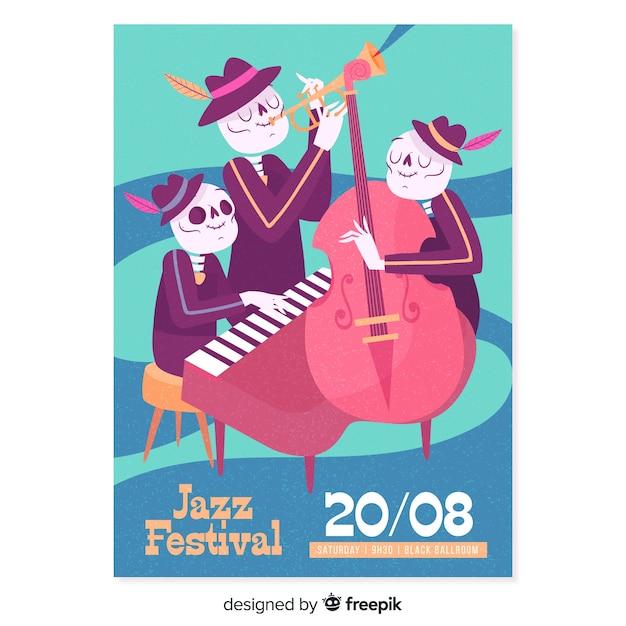 Hand gezeichnetes skelettjazzmusik-festivalplakat Kostenlosen Vektoren