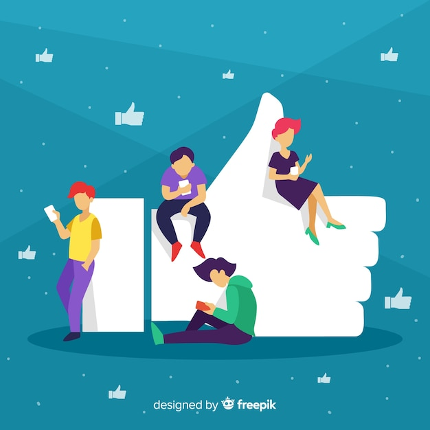 Hand gezeichnetes social media der jungen leute mögen konzepthintergrund Kostenlosen Vektoren