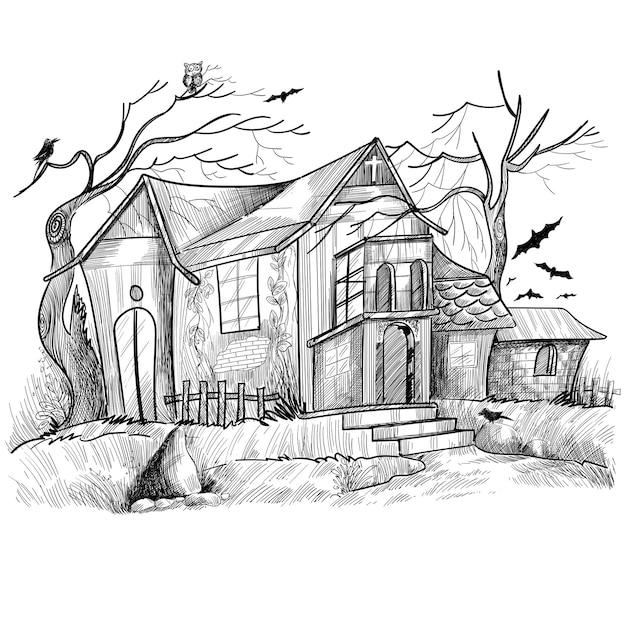Hand gezeichnetes spuk-halloween-hausskizzenentwurf Kostenlosen Vektoren