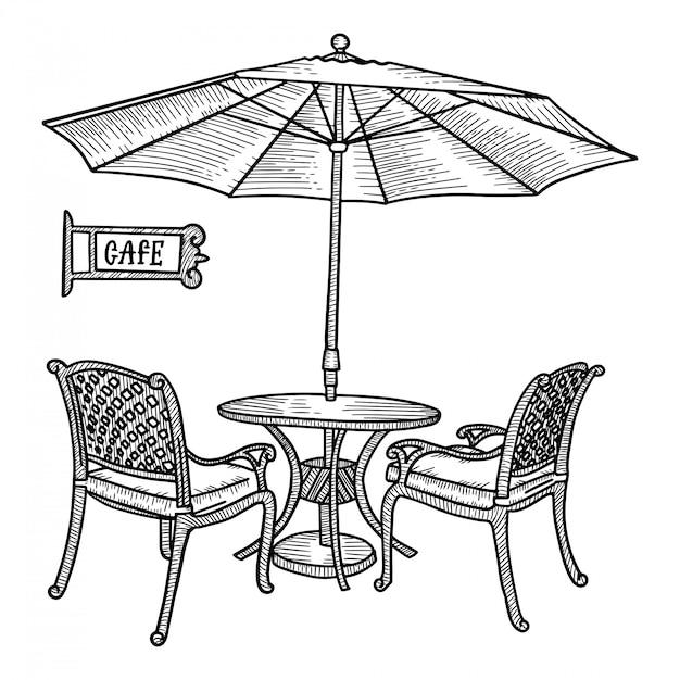 Hand gezeichnetes straßencafé - tisch, zwei stühle und ambrella oder sonnenschirm. hand gezeichnete skizze für menüentwurf, skizze restaurantstadt, außenarchitektur, schwarzweiss-weinleseillustration. Premium Vektoren