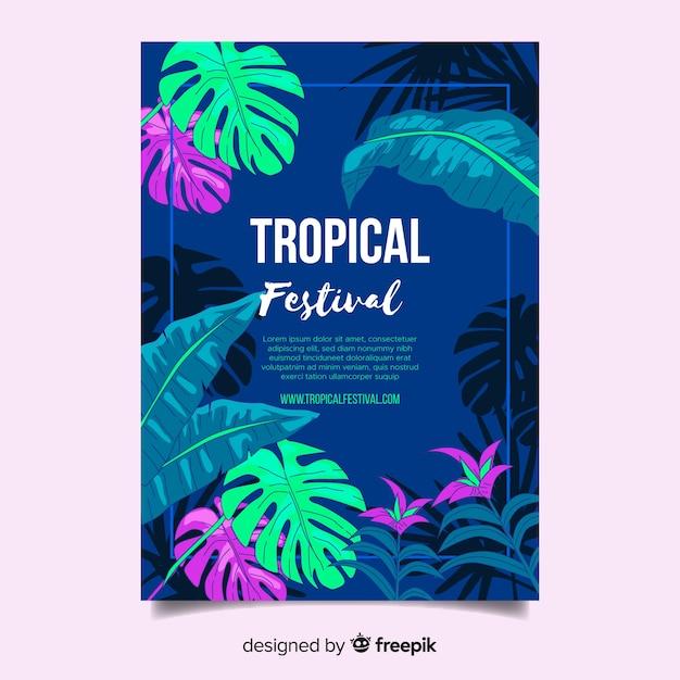Hand gezeichnetes tropisches festivalplakat Kostenlosen Vektoren