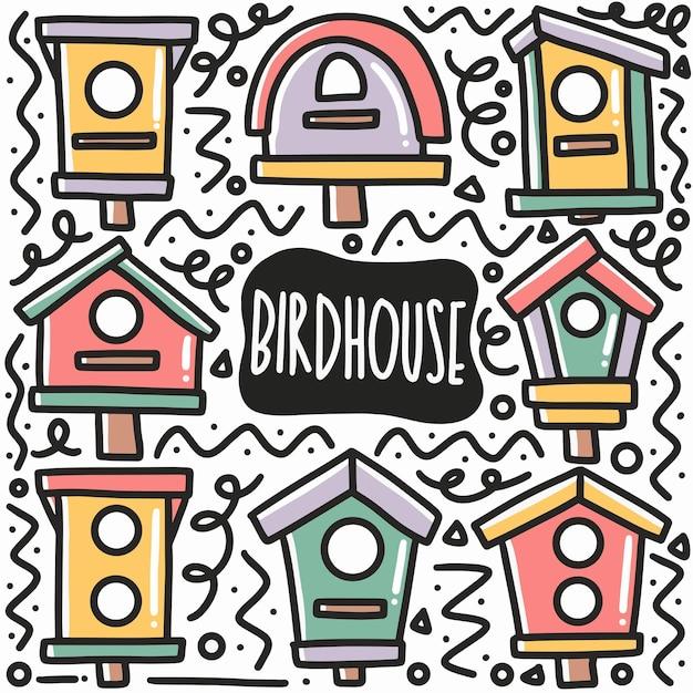 Hand gezeichnetes vogelhauskritzelset mit ikonen und gestaltungselementen Premium Vektoren