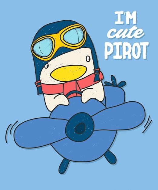 Hand gezeichnetes vogelvektordesign für t-shirt drucken Premium Vektoren