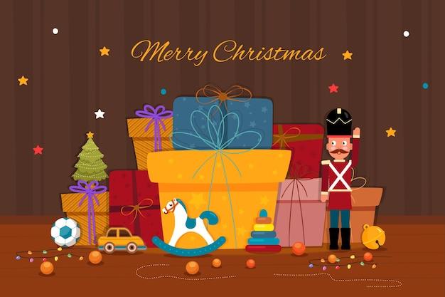 Hand gezeichnetes weihnachten spielt hintergrund Kostenlosen Vektoren