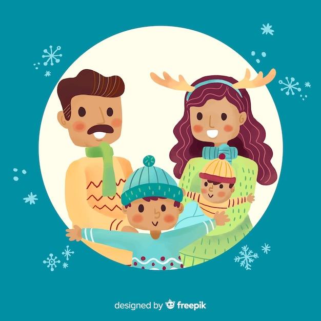 Hand gezeichnetes weihnachtsfamilienportrait Kostenlosen Vektoren