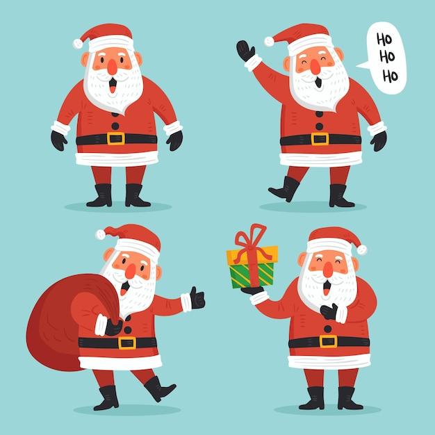 Hand gezeichnetes weihnachtsmann-charakterpaket Kostenlosen Vektoren