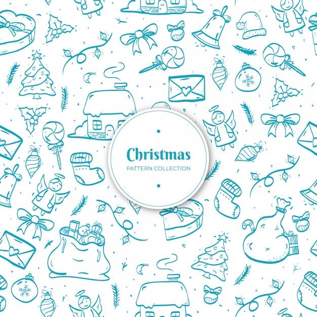 Hand gezeichnetes weihnachtsmuster Kostenlosen Vektoren
