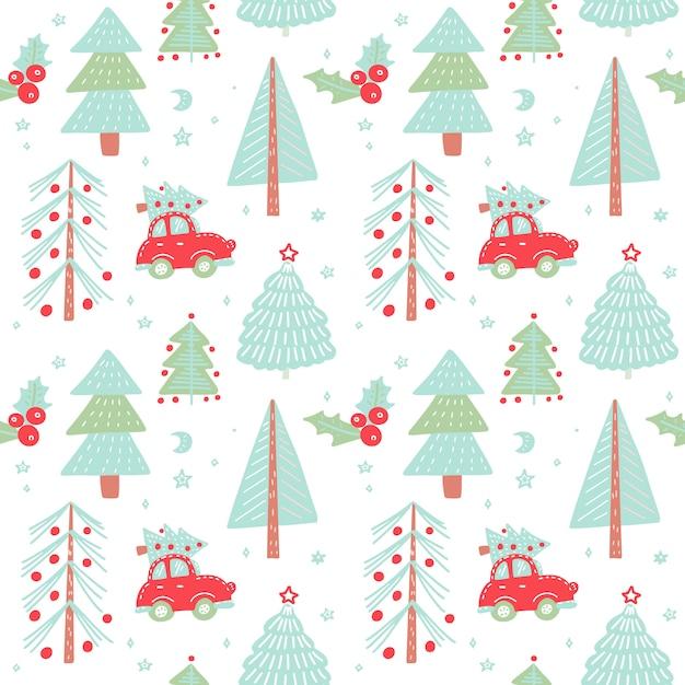 Hand gezeichnetes weihnachtsnahtloses muster mit weihnachtsbäumen. nettes rotes retro- auto im wintertannenwald. Premium Vektoren