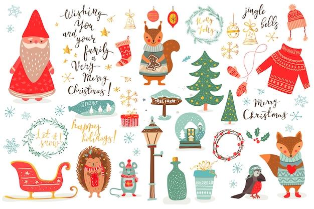 Hand gezeichnetes weihnachtsset im karikaturstil. lustige karte mit niedlichen tieren und anderen elementen: fuchs, maus, eichhörnchen, hetchog-vogel, weihnachtsmann, weihnachtsbaum, beschriftung. illustration Premium Vektoren