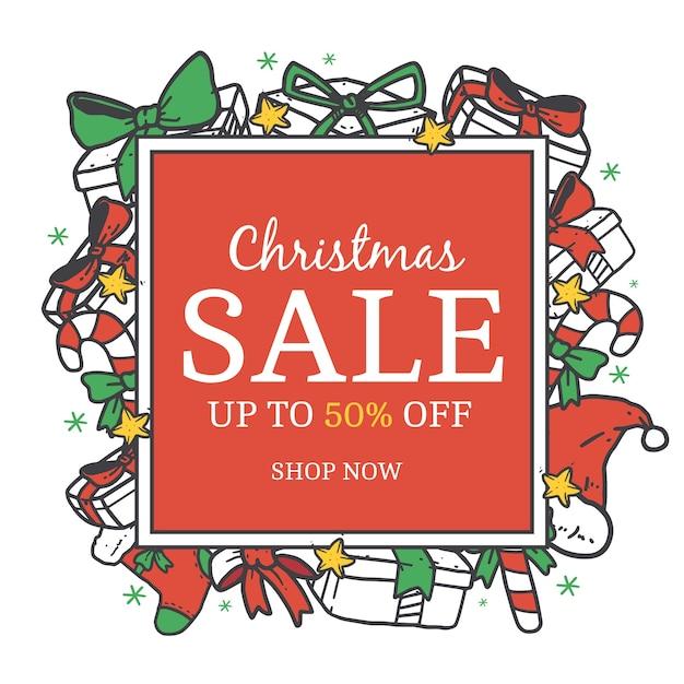 Hand gezeichnetes weihnachtsverkaufskonzept Kostenlosen Vektoren