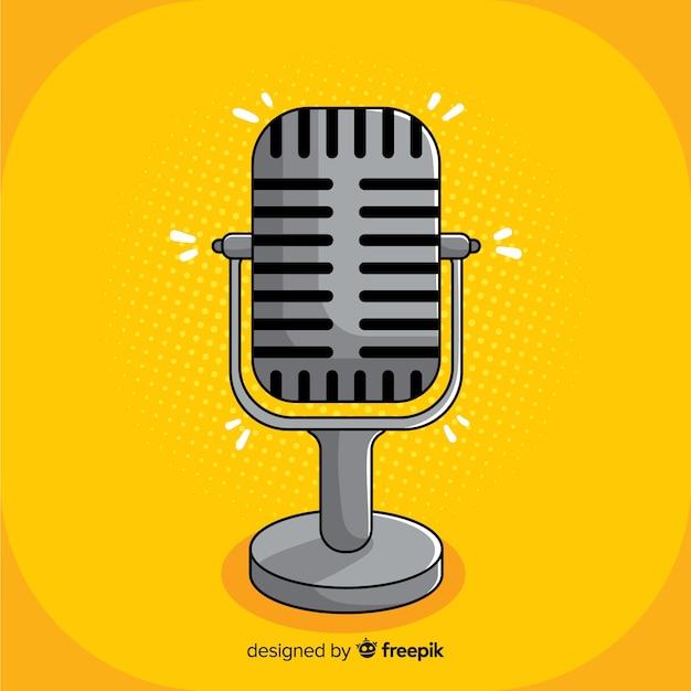 Hand gezeichnetes weinlesemikrofon Kostenlosen Vektoren
