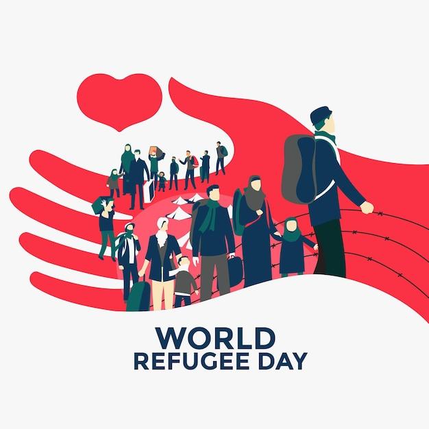 Hand gezeichnetes weltflüchtlingstagkonzept Kostenlosen Vektoren