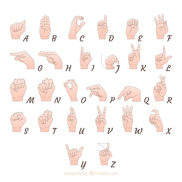 Hand gezeichnetes zeichensprachenalphabet Kostenlosen Vektoren