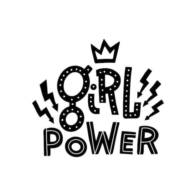 Hand gezeichnetes zitat girl power verziert mit blitzzeichen und -krone. Premium Vektoren