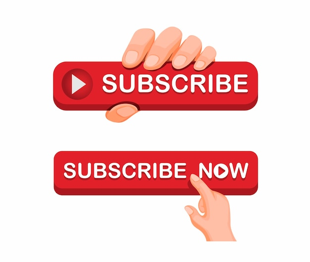 Hand grab abonnieren schaltfläche symbol für online-video-streaming-kanal symbol set-konzept in cartoon-illustration Premium Vektoren