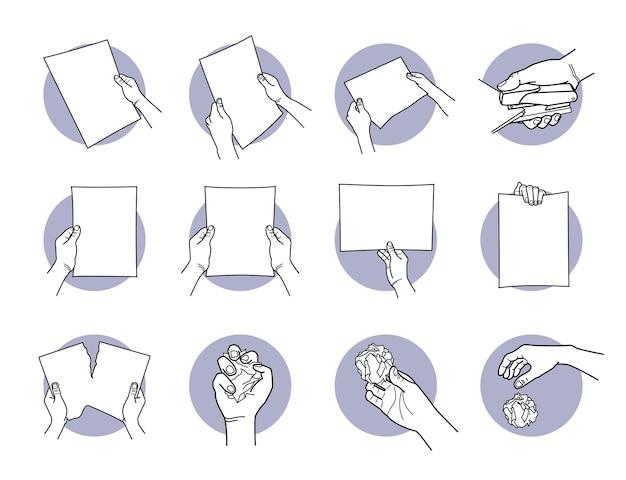 Hand hält a4-papier, heftet, zerreißt, zerknittert und wirft das papier weg. Premium Vektoren
