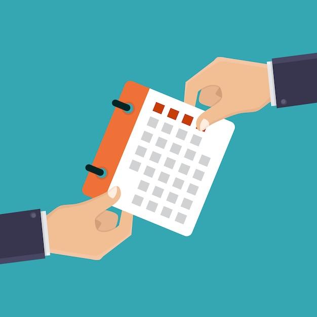 Hand hält einen kalender Premium Vektoren