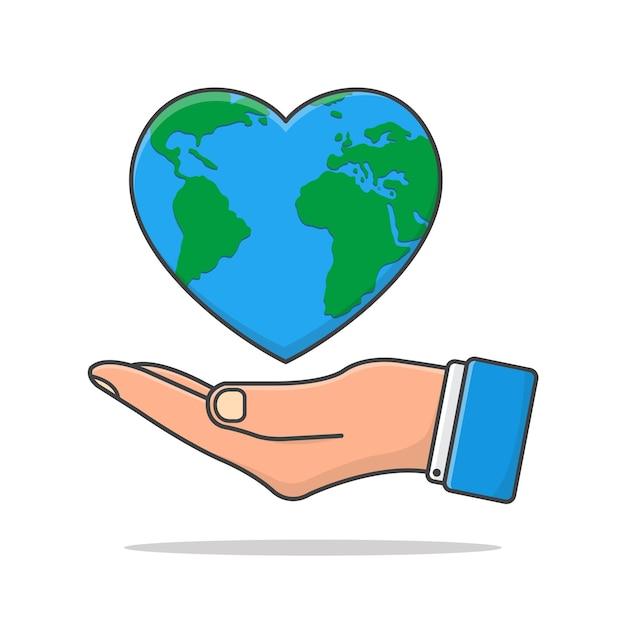 Hand hält liebe erde symbol illustration. earth day flat icon. rette die erde Premium Vektoren