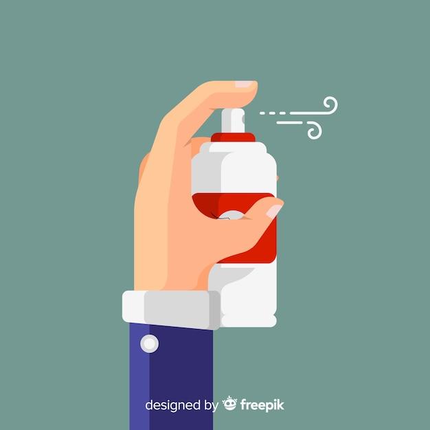 Hand hält mückenspray Kostenlosen Vektoren
