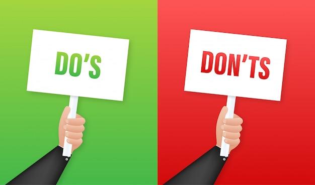Hand hält plakat do's and don'ts. illustration. Premium Vektoren