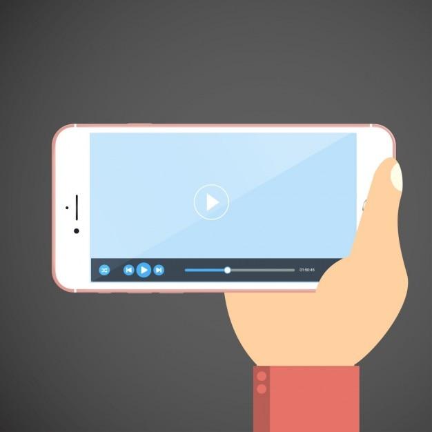 Hand hält smartphone mit video-player-app auf dem bildschirm Kostenlosen Vektoren