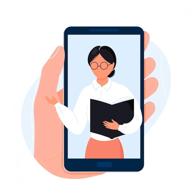 Hand hält telefon mit lehrer auf dem bildschirm Premium Vektoren