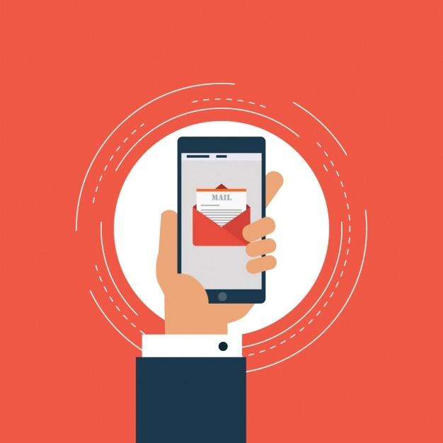 Hand hält ein Handy mit einer E-Mail auf dem Bildschirm Kostenlose Vektoren